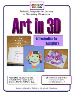 Art in 3D- Introduction to Sculpture Art Lessons - fun with paper and marshmallows.