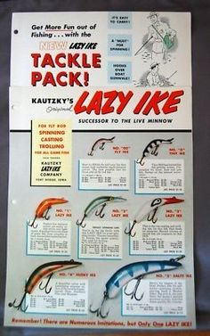 Sale is for a vintage old Kautzky's Lazy Ike Lure Catalog insert advertising. They inlude a combination of color and black & whi. Bass Fishing Tips, Walleye Fishing, Fishing Tools, Carp Fishing, Ice Fishing, Fishing Equipment, Fishing Tackle, Fishing Tricks, Vintage Fishing Lures