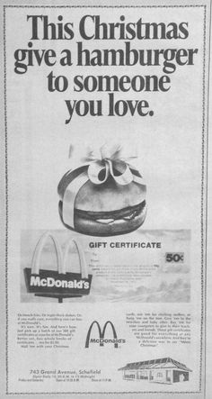 Dec. 6, 1974 McDonald's advertisement for holiday gift certificates.