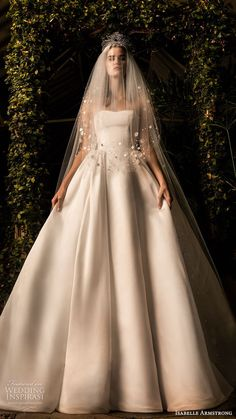 Style 1 by Isabelle Armstrong Fall 2019 / Classic White // strapless, semi sweetheart neckline, ball gown Colored Wedding Dresses, Bridal Dresses, Wedding Gowns, Beautiful Dresses, Nice Dresses, Dress Vestidos, Isabelle, Bridal Style, Wedding Styles