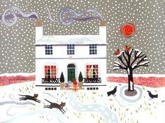 Winter Snows  (Keats House, Hampstead)  cut paper collage by Amanda White. www.amandawhite-contemporarynaiveart.com