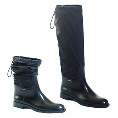 Muny Women's RainColor Black Rubber & Nylon Boots 5 US