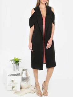 Black Lapel Sleeveless Outwear - Zooomberg
