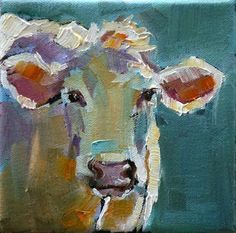 #Art #Animals - Oil Painting Cow Head | ... cow made him look like he was an Easter cow. Painted on a 5 x 5 http://www.ablankcanvas.net