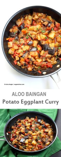 Easy Indian spiced Eggplants and Potatoes Aloo Baingan Recipe Curried Potato Eggplant side vegan glutenfree Indian Indian Food Recipes, Whole Food Recipes, Vegetarian Recipes, Cooking Recipes, Healthy Recipes, Vegan Eggplant Recipes, Indian Eggplant Recipes, Indian Potato Recipes, Cucina