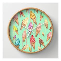 "Melted Ice Creams Natural White Wall Clock by Mike Koubou. Illustration, Vintage, Abstract, Painting. Available in natural wood, black or white frames, our 10""…"