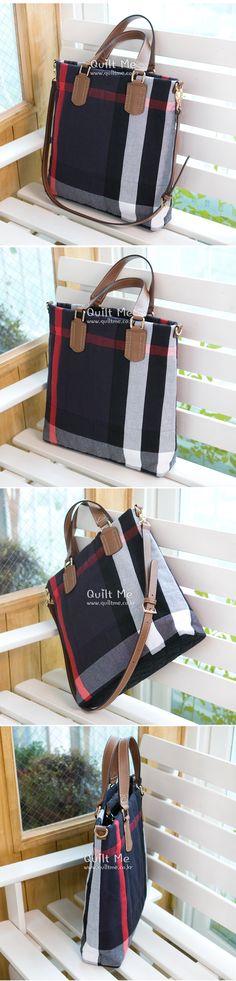 [★특가판매!-BB체크 심플 토트&크로스백 (흑남색)] Patchwork Bags, Quilted Bag, Japanese Bag, Diy Purse, Pouch, Wallet, Knitted Bags, Fashion Bags, Quilt Patterns