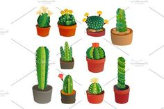 Cactus flat style nature desert flower green cartoon drawing graphic mexican succulent and tropical plant garden art cacti floral vector illustration. by KitVector on @creativemarket