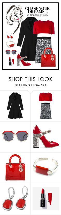 """Paule Ka Striped T-Shirt Dress Look"" by romaboots-1 ❤ liked on Polyvore featuring Lulu Guinness, Paule Ka, Preen, Gucci, Christian Dior and Smashbox"
