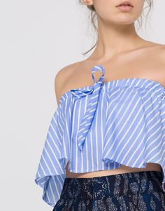 FRILLED POPLIN STRAPLESS TOP - NEW PRODUCTS - WOMAN - PULL&BEAR Greece