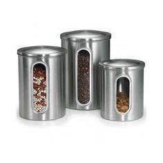 Canister Set 3 Piece Window Stainless Steel Kitchen Flour Sugar Coffee Tea Lids #Polder