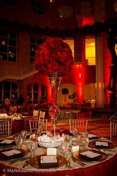 Stunning Red reception wedding flowers,  wedding decor, wedding flower centerpiece, wedding flower arrangement, add pic source on comment and we will update it. www.myfloweraffair.com can create this beautiful wedding flower look.