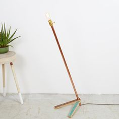 Copper & Oak Floor Lamp Edison Bulb Minimal by MadeAndPrinted