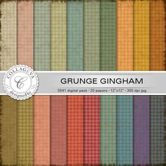 "Grunge Gingham Digital Paper Pack, 20 printable sheets, 12""x12"" Checkered Plaid Pattern Vintage colors green ocher beige red blue (S541) by collageva on Etsy"