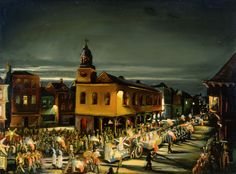 This circa 1884 painting from our Fine Arts collection shows a night parade passing alongside what is thought to be the French Quarter. [Mardi Gras, Unknown artist, ca. 1884, Oil on canvas laid to Masonite, Louisiana State Museum, 1998.001.27.1.]