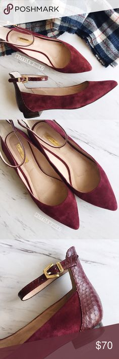 Burgundy suede flats Louise at Cie | 'Barry' suede ballet flats in Shiraz Red Suede. These gorgeous flats feature a slim adjustable ankle strap, contrasting heel panel, and pointy toe. Add a touch of festive burgundy to your wardrobe with these classy and feminine flats! Bottoms are gently worn as shown in last photo; in otherwise excellent used condition.   Size: 7 1/2 Louise et Cie Shoes Flats & Loafers