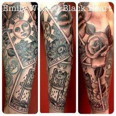 Tarot sleeve by Emily Wood - Black Heart Tattoo Studio, Epsom, UK Emily Wood, Black Heart Tattoos, Tarot Tattoo, Body Is A Temple, Tattoo Studio, Tattoo Inspiration, Sleeve Tattoos, Piercings, Tattoo Ideas
