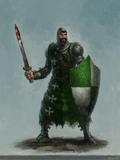 Human Knight by Cribs.deviantart.com  Green and white