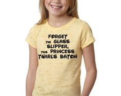 Youth Forget the Glass Slipper This Princess Twirls Baton ... Burnout FUNNY Shirt - Baton, Twirling, Twirler