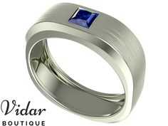 Bands For Men Men/'s Jewelry Classic Anniversary Gift For Him Free Shipping Emerald Cut Solitaire 0.60ct Blue Sapphire Mens Wedding Band