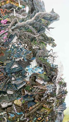 Master of Pen and Ink: Manabu Ikeda painting  Close up.
