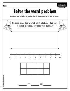 Free addition and subtraction word problems for kindergarten. Free fun worksheets for kindergarten math. Subtraction Kindergarten, Subtraction Activities, Free Kindergarten Worksheets, In Kindergarten, Math Games, Math Addition Worksheets, Fun Worksheets, Math Vocabulary, Math Graphic Organizers