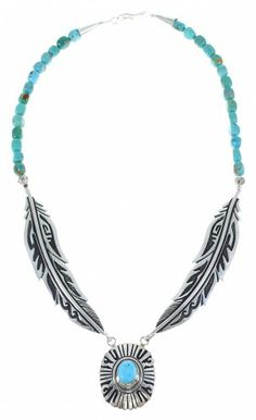 Turquoise Navajo Sterling Silver Feather Link And Bead Necklace