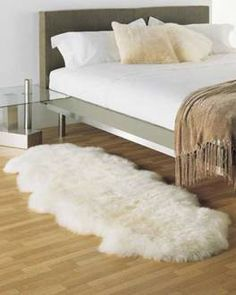 bedrm ; each side of bed ; Double Ivory White Sheepskin Rug - 2 Pelt (2x6 ft)