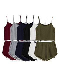 Armygreen Casual Sport Sleeveless Top and Elastic Waist Short Co-ord with Pom Pom Details