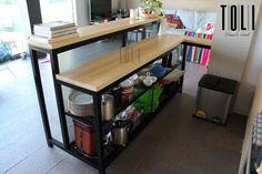 Hotel Buffet, Coffee Lab, Loft Kitchen, Small Space Storage, Interior Decorating, Interior Design, Metal Shelves, Metal Furniture, Kitchen Organization