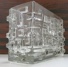 Blockvase Mid Century Glas Vase - Czech Sklo Union 1960s