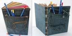 Couvertures de livres en jean recyclé, des modèles Patched Jeans, Denim Jeans, Diy Laine, Denim Crafts, Recycle Jeans, Creation Couture, Couture Sewing, Couture Details, Book Folding