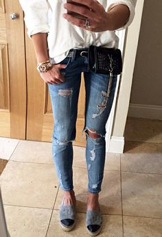 White shirt, ripped jeans, Chanel espadrilles and Saint Laurent bag