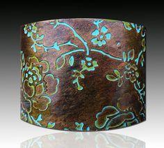 Rosebud polymer clay cuff bracelet copper and от adrianaallenllc, $16.00