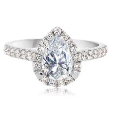 18kt White Gold Beautiful Pear-shape Halo Engagement Setting | Washington Diamond | Falls Church, VA