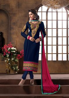 Party wear semi stitched anarkali salwar suit buy from #craftshopsindia