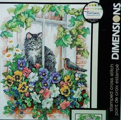 Dimensions Cross Stitch Kit Cat In Window Bird Flowers New Sealed #Dimensions