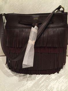 a135a0bda693 Ralph Lauren Cobden Brown Leather Drawstring Fringe Bucket Handbag for sale  online