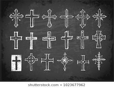 Similar Images, Stock Photos & Vectors of Christian cross icons. Vector line black christian cross set on white background - 373737214 Chalkboard Wall Art, Chalkboard Designs, Chalkboard Ideas, Cross Tattoo For Men, Cross Tattoo Designs, Cross Designs, Doodle Sketch, Doodle Art, Christian Cross Tattoos