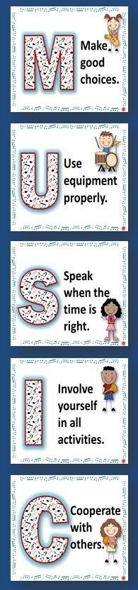 Music Classroom Decor: Music Class Rules POSTERS Set 1 This is a SIX page PDF file of music class rules. There is one poster/page for each letter in the word Preschool Music, Music Activities, Teaching Music, Classroom Activities, Music Games, Music Class Rules, Work Music, Music Lessons, Kids Music