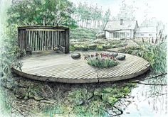 Quick And Easy Landscaping On A Budget - House Garden Landscape Plans Architecture, Landscape Architecture Drawing, Landscape Sketch, Landscape Drawings, Landscape Pictures, Garden Design Plans, Landscape Design Plans, Sketches Arquitectura, Permaculture Design