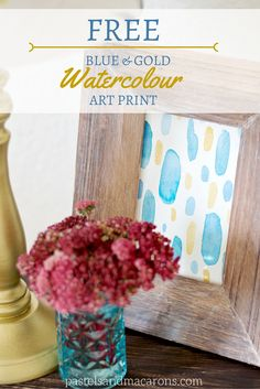 FREE PRINTABLE Blue And Gold Watercolour Art Print by pastels & Macarons.