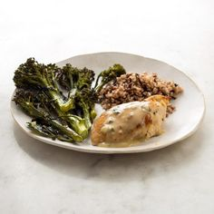 Roast Chicken with Parmesan-Herb Sauce Recipe - EatingWell Clean Eating Recipes For Dinner, Clean Eating Meal Plan, Dinner Recipes, Healthy Eating, Dinner Ideas, Healthy Lunches, Healthy Cooking, Herb Sauce Recipe, Recipe Box