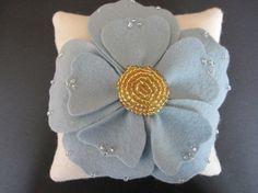 Ring Pillow Bearer Wedding Blue Ivory Gold Anemone Flower custom colors #ringbearerpillow  by ArtisanFeltStudio, $46.00