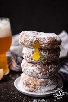 Mix our Appalachian Brewing Co. Water Gap Wheat and Hoppy Trails IPA to make this yummy breakfast! Beer Doughnuts with IPA Lemon Curd - Not sure about these, but they might be worth a try! Beer Recipes, Donut Recipes, Snack Recipes, Dessert Recipes, Cooking Recipes, Coffee Recipes, Brunch Recipes, Vegan Recipes, Root Beer