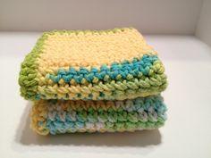 Dishcloths - Handmade - Crochet - Yellow Green blue