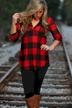 Elegant Buffalo Check Outfit For Women Look More Beautiful 250