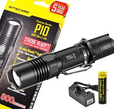 Rechargeable Bundle: Nitecore P10 800 Lumens Premium Law Enforcement Security Tactical LED Flashlight, Instant Strobe * Don't get left behind, see this great outdoor item : Camping stuff