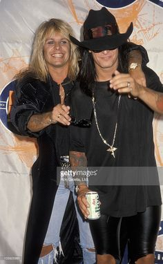 Vince Neil and Nikki Sixx during 1990 MTV Video Music Awards at Universal Amphitheater in Los Angeles, California, United States.