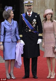 Queen Sofia, Prince Felipe and Princess Letizia at the wedding of Prince William and Catherine Middleton-April.29, 2011